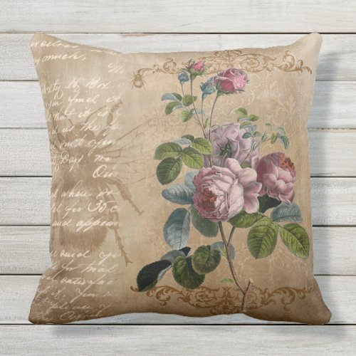Vintage Flowers and Handwriting Throw Pillow