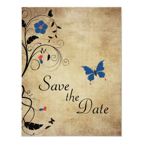 Vintage Flowers Butterflies Wedding Save the Date Invitation