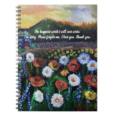 Vintage Folk Art Field of Flowers 4 Editable Quote