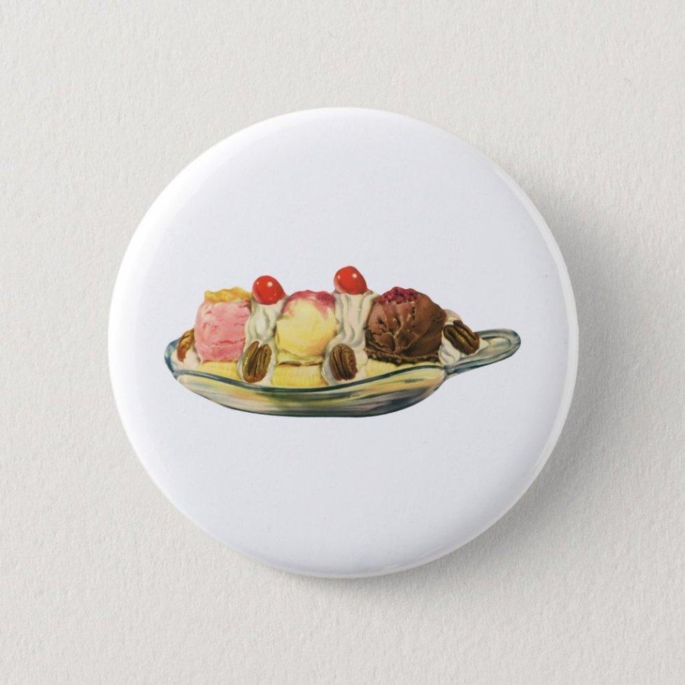 Vintage Food Desserts, Banana Split Cherries Pinback Button