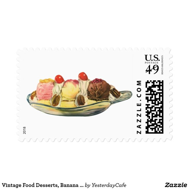 Vintage Food Desserts, Banana Split Cherries Postage