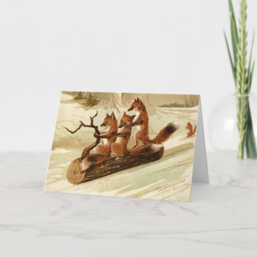 Vintage Foxes Sledding Christmas Card