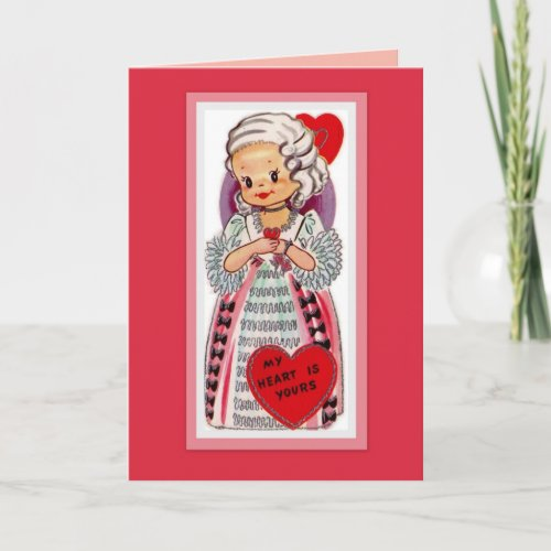 Vintage French Girl Valentine Card card