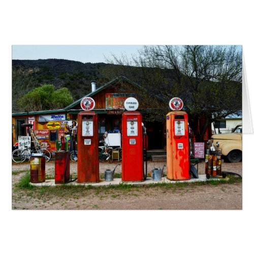 Vintage Gas Pumps in New Mexico Greeting Card