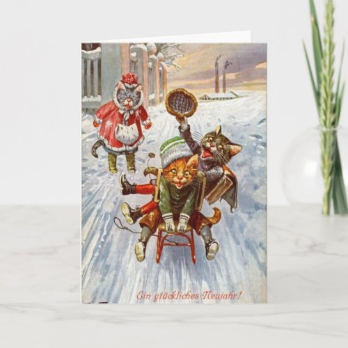 Vintage German - New Year Cats Sledding, Holiday Card