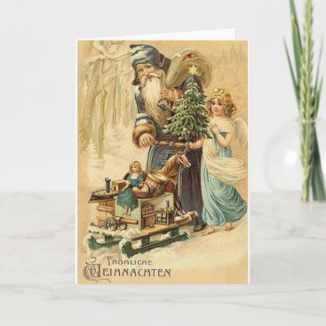 Vintage German Santa And Angel Christmas Card