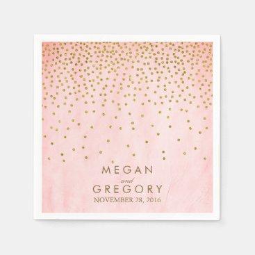 Vintage Gold Confetti Pink Napkin