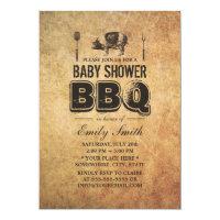 Vintage Grunge Pig Roast Baby Shower BBQ Card