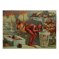 Vintage Halloween Greeting Card - Devlish Greeting