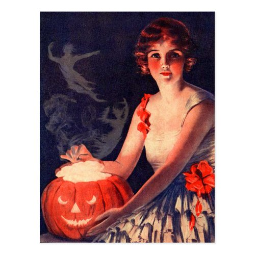Vintage Halloween Magic Pumpkin Postcard