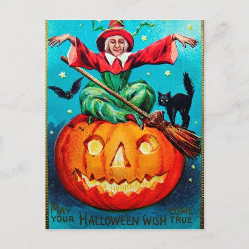Vintage Halloween witch pumpkin Holiday postcard