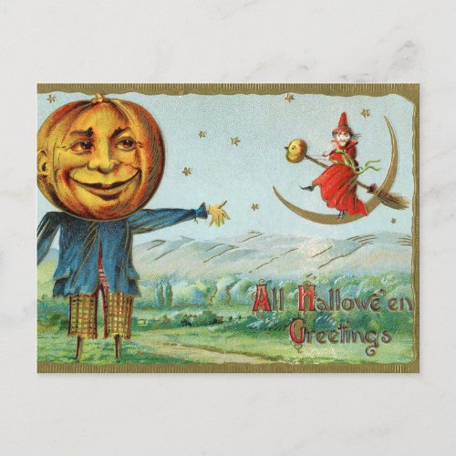 Vintage Halloween witch pumpkin scarecrow postcard