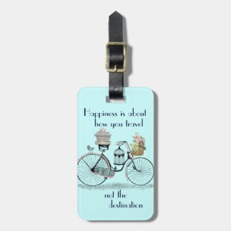 Vintage Happiness is about how you travel poster Luggage Tags
