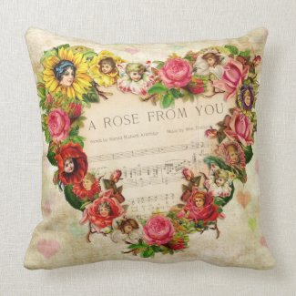Vintage Hearts and Flowers Pillows