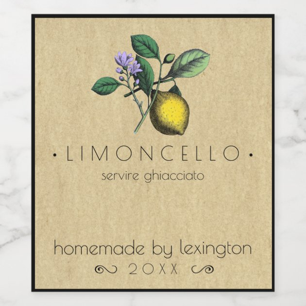 Vintage Homemade Limoncello Bottle Label