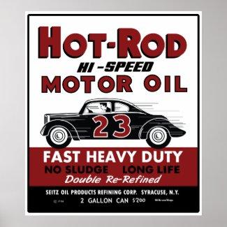 Vintage Hot-Rod Motor Oil tin can design print