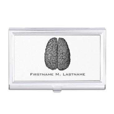 Vintage Human Brain Illustration Business Card Holder