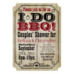 Vintage I Do BBQ Barbeque Couples Shower Invitation
