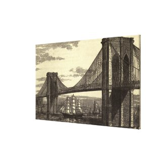 Vintage Illustration of The Brooklyn Bridge (1879) Canvas Print