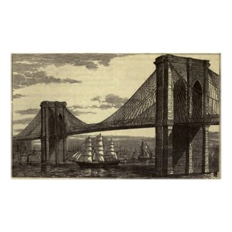 Vintage Illustration of The Brooklyn Bridge (1879) Poster