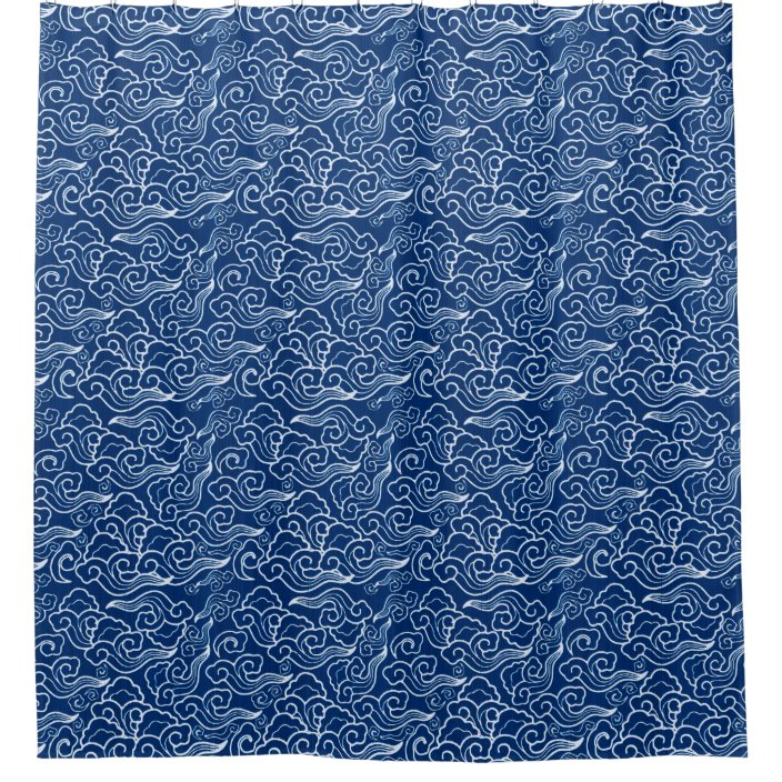 vintage japanese clouds cobalt blue and white shower curtain zazzle com