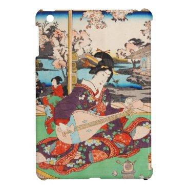 Vintage japanese ukiyo-e geisha playing Biwa art Cover For The iPad Mini