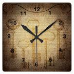 Vintage Key Design Square Wall Clock