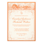 Vintage Koi & Flourishes Coral Orange Invitation
