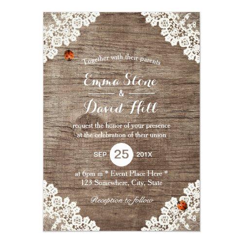 Vintage Laced Barn Wood Ladybugs Rustic Wedding Card