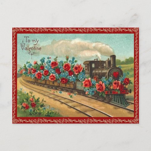 Vintage Love Train Valentine Postcard