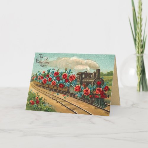 Vintage Love Train Valentine's Day Card