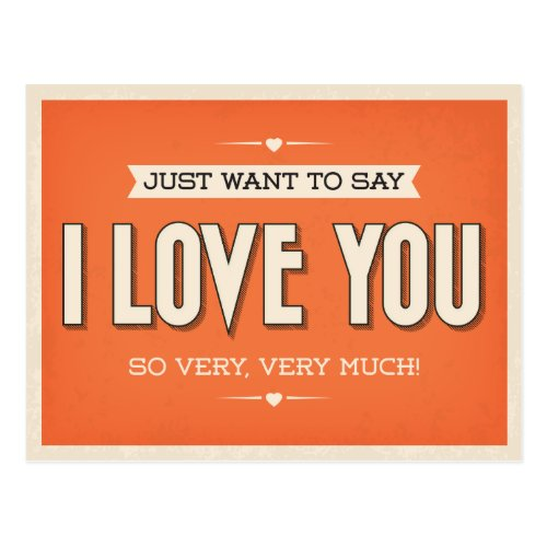 Vintage Love You Orange Grunge Postcard