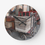 Vintage luggage and wicker basket - Range Round Clock