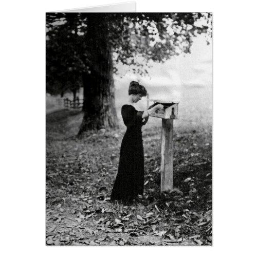 Vintage Mailbox Victorian Woman Greeting Card