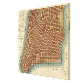 Vintage Map of Lower New York City (1807) Stretched Canvas Prints