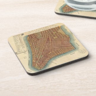 Vintage Map of Lower New York City (1807) Beverage Coaster