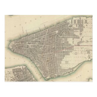 Vintage Map of Lower New York City (1840) Post Card