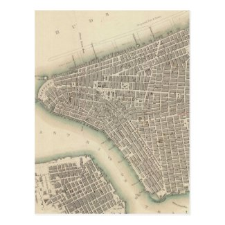 Vintage Map of Lower New York City (1840) Postcards
