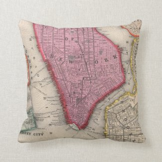 Vintage Map of Lower New York City (1860) Pillows
