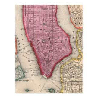 Vintage Map of Lower New York City (1860) Post Cards