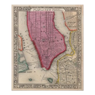 Vintage Map of Lower New York City (1860) Print