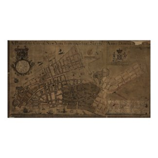 Vintage Map of New York City (1755) Print