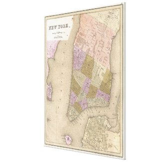 Vintage Map of New York City (1839) Canvas Print