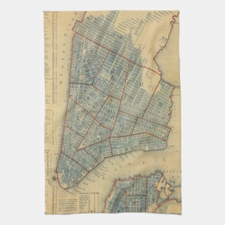 Vintage Map of New York City (1846) Kitchen Towels