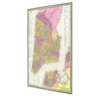 Vintage Map of New York City (1848) Canvas Print