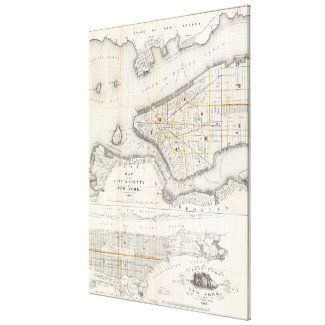 Vintage Map of New York City (1860) 2 Canvas Print