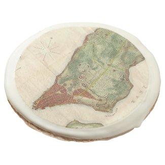 Vintage Map of New York City (1878) Sugar Cookie