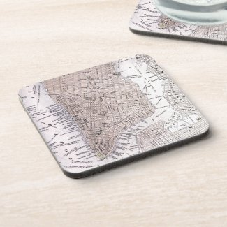 Vintage Map of New York City (1884) Beverage Coaster