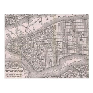 Vintage Map of New York City (1886) Postcard