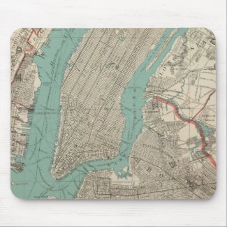 Vintage Map of New York City (1890) Mouse Pad
